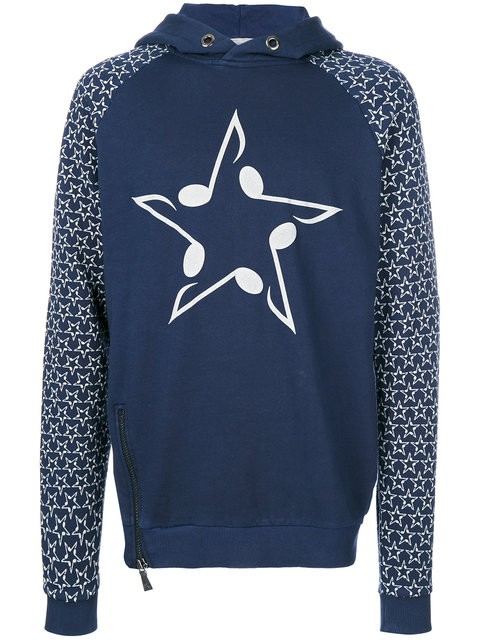 """Classic Fit Hoody """"Musicstar rubber Print"""" - blue"""